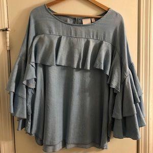 Chambray Ruffle Sleeve Blouse